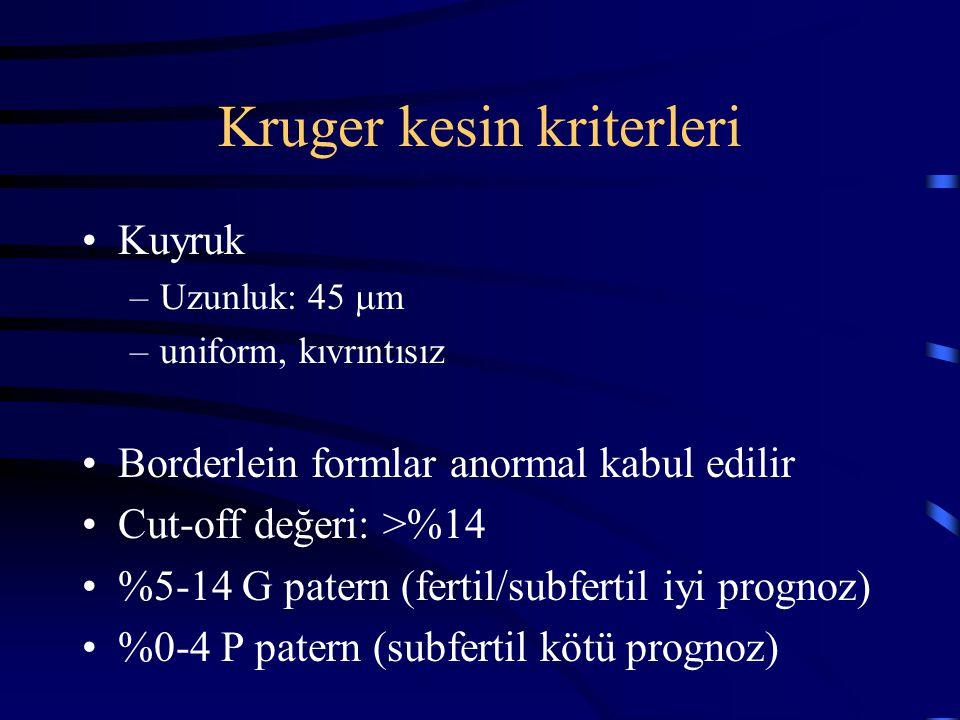 Kruger kesin kriterleri Kuyruk –Uzunluk: 45  m –uniform, kıvrıntısız Borderlein formlar anormal kabul edilir Cut-off değeri: >%14 %5-14 G patern (fer