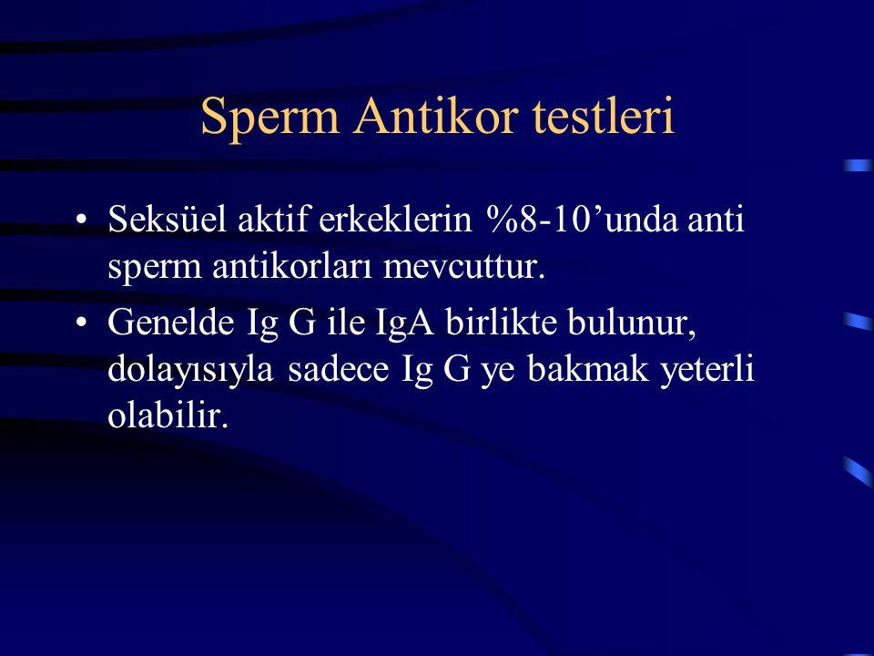 Sperm Antikor testleri Seksüel aktif erkeklerin %8-10'unda anti sperm antikorları mevcuttur. Genelde Ig G ile IgA birlikte bulunur, dolayısıyla sadece