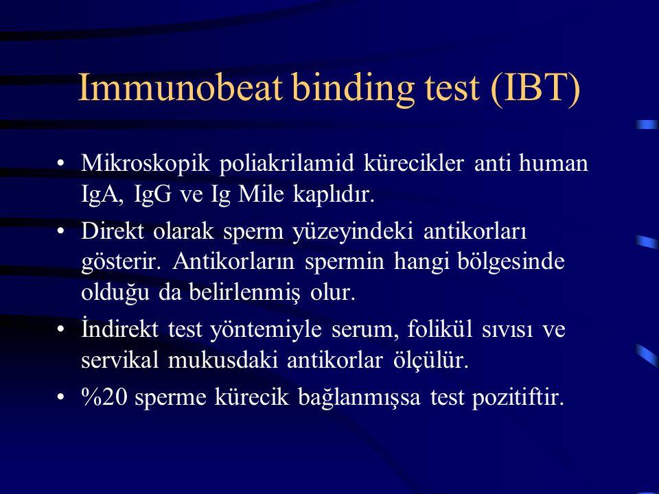 Immunobeat binding test (IBT) Mikroskopik poliakrilamid kürecikler anti human IgA, IgG ve Ig Mile kaplıdır. Direkt olarak sperm yüzeyindeki antikorlar