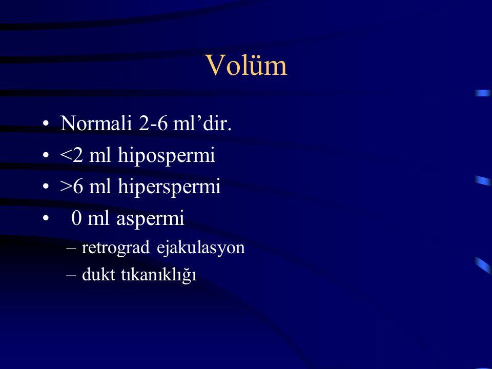 Volüm Normali 2-6 ml'dir. <2 ml hipospermi >6 ml hiperspermi 0 ml aspermi –retrograd ejakulasyon –dukt tıkanıklığı