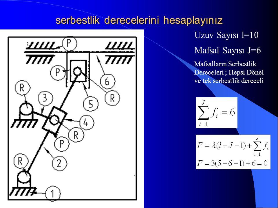 serbestlik derecelerini hesaplayınız Mafsal Sayısı J=6 Uzuv Sayısı l=10 Mafsalların Serbestlik Dereceleri ; Hepsi Dönel ve tek serbestlik dereceli