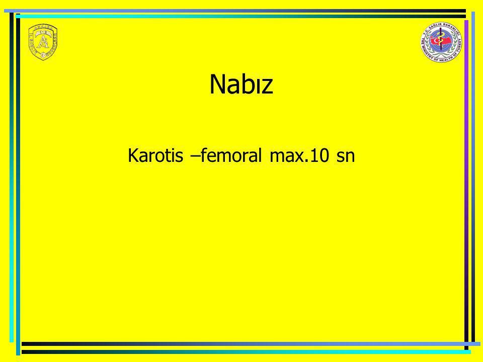 Nabız Karotis –femoral max.10 sn
