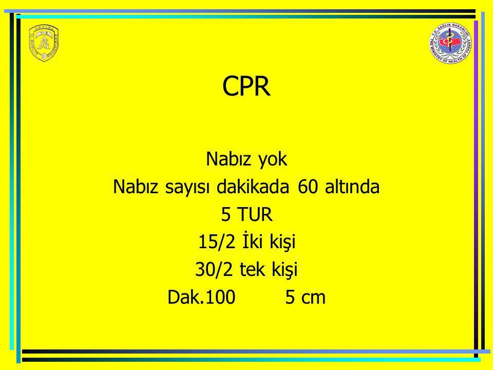 CPR Nabız yok Nabız sayısı dakikada 60 altında 5 TUR 15/2 İki kişi 30/2 tek kişi Dak.100 5 cm