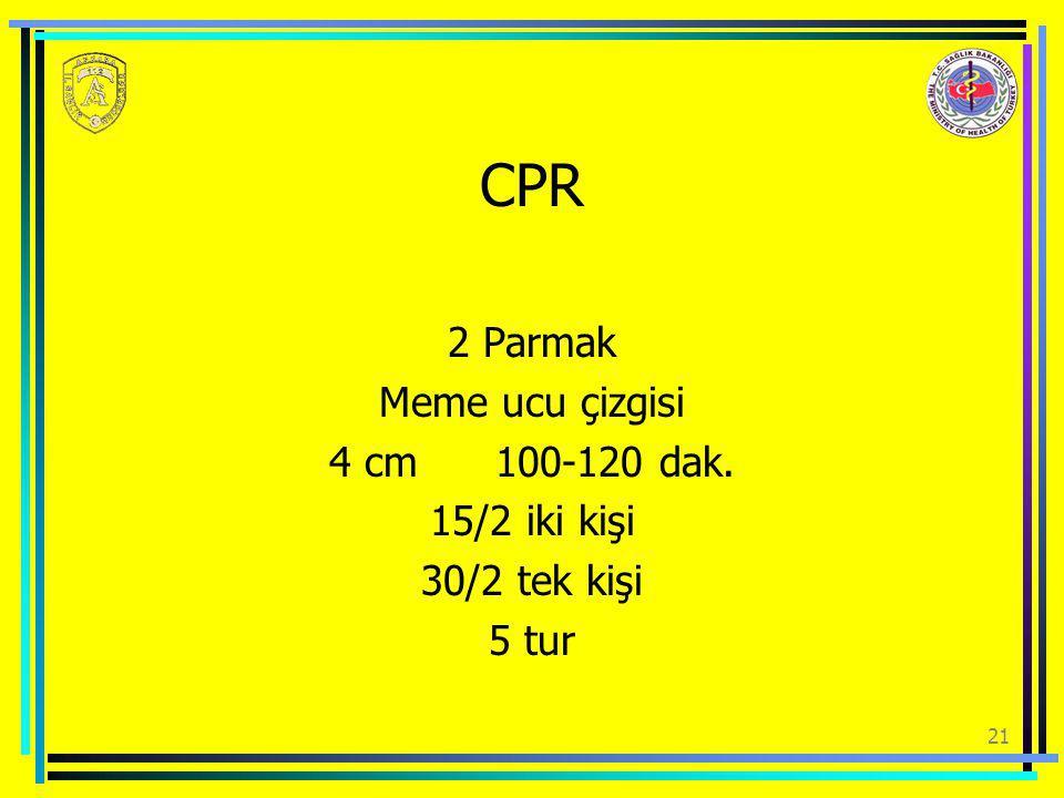 CPR 2 Parmak Meme ucu çizgisi 4 cm 100-120 dak. 15/2 iki kişi 30/2 tek kişi 5 tur 21
