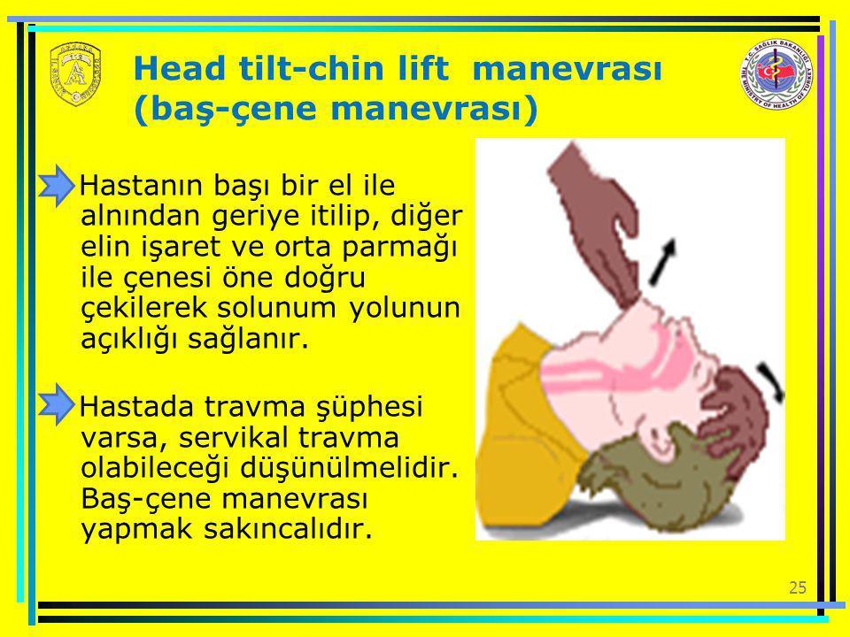 25 Head tilt-chin lift manevrası (baş-çene manevrası) Hastanın başı bir el ile alnından geriye itilip, diğer elin işaret ve orta parmağı ile çenesi ön