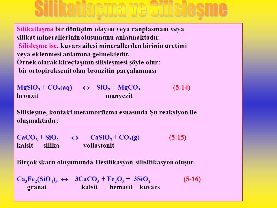 Silisleşme ve silikatlaşma da yaygındır. Bu iki kelime benzer olmakla beraber, anlam bakımından oldukça farklıdır. Silisleşme, silikanın kuvars olarak