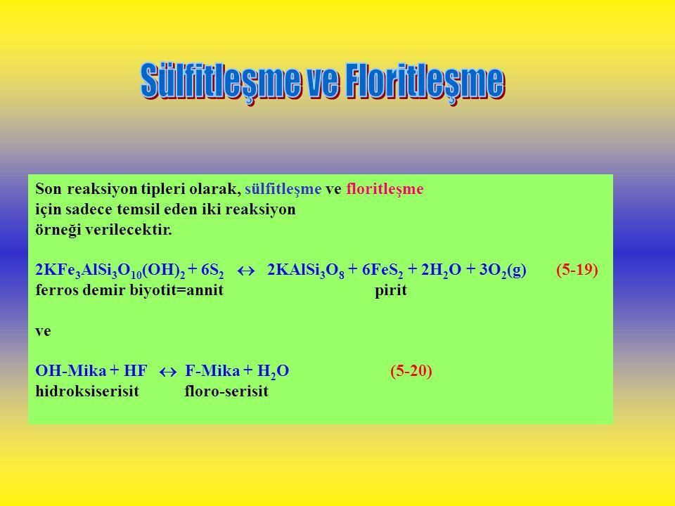 Oksidasyon-redüksiyon reaksiyonları büyük ölçüde ferros-ferrik demirleri ve sülfür mineralojisini ve komplekslerini etkiler, İki tipik reaksiyon; 4Fe