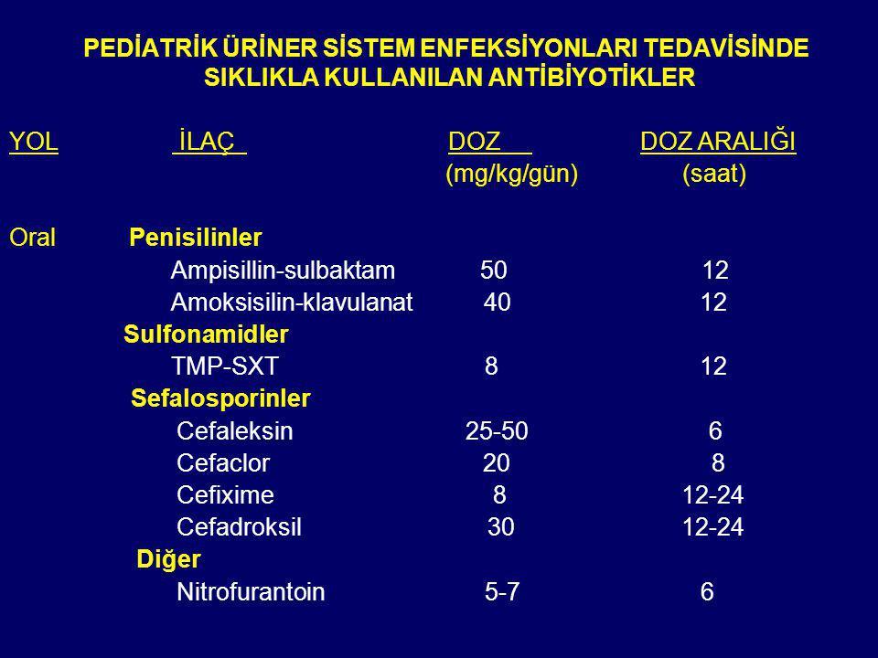 PEDİATRİK ÜRİNER SİSTEM ENFEKSİYONLARI TEDAVİSİNDE SIKLIKLA KULLANILAN ANTİBİYOTİKLER YOL İLAÇ DOZ DOZ ARALIĞI (mg/kg/gün) Oral Penisilinler Ampisillin-sulbaktam 50 12 Amoksisilin-klavulanat 40 12 Sulfonamidler TMP-SXT 8 12 Sefalosporinler Cefaleksin 25-50 6 Cefaclor 20 8 Cefixime 8 12-24 Cefadroksil 30 12-24 Diğer Nitrofurantoin 5-7 6 (saat)