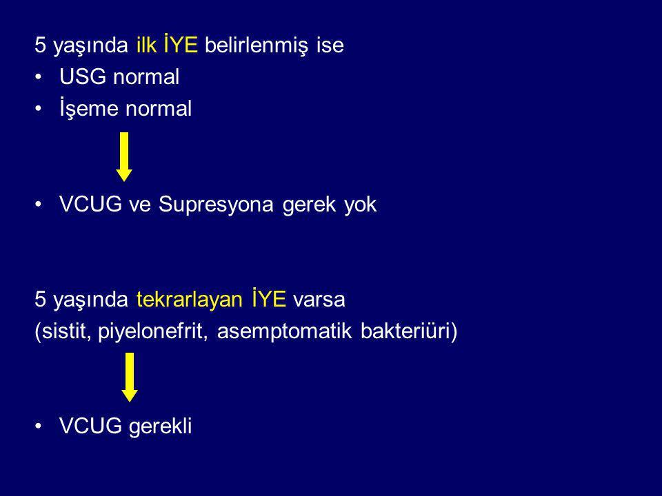 5 yaşında ilk İYE belirlenmiş ise USG normal İşeme normal VCUG ve Supresyona gerek yok 5 yaşında tekrarlayan İYE varsa (sistit, piyelonefrit, asemptomatik bakteriüri) VCUG gerekli