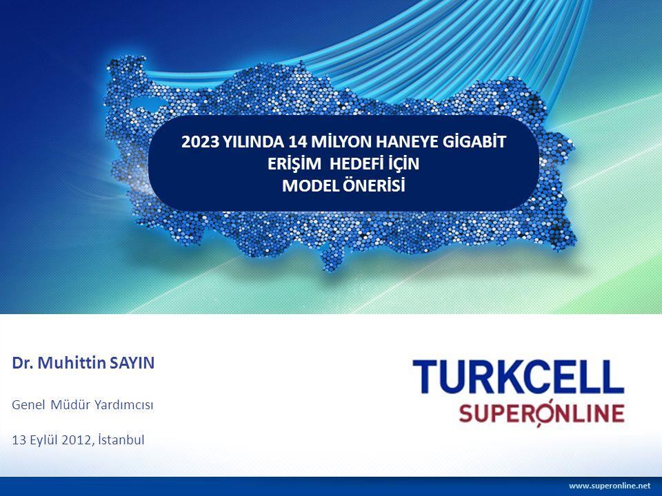 2023 YILINDA 14 MİLYON HANEYE GİGABİT ERİŞİM HEDEFİ İÇİN MODEL ÖNERİSİ Dr. Muhittin SAYIN Genel Müdür Yardımcısı 13 Eylül 2012, İstanbul