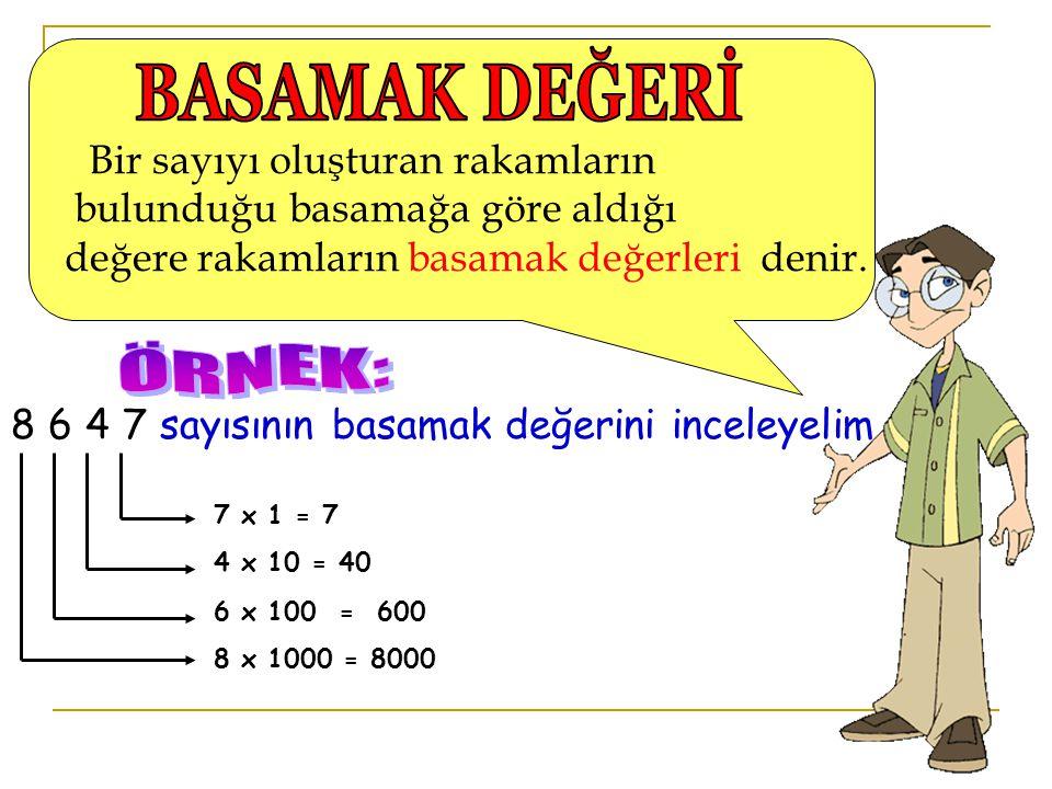 B ir sayıyı oluşturan rakamların bulunduğu basamağa göre aldığı değere rakamların basamak değerleri denir. 8 6 4 7 sayısının basamak değerini inceleye