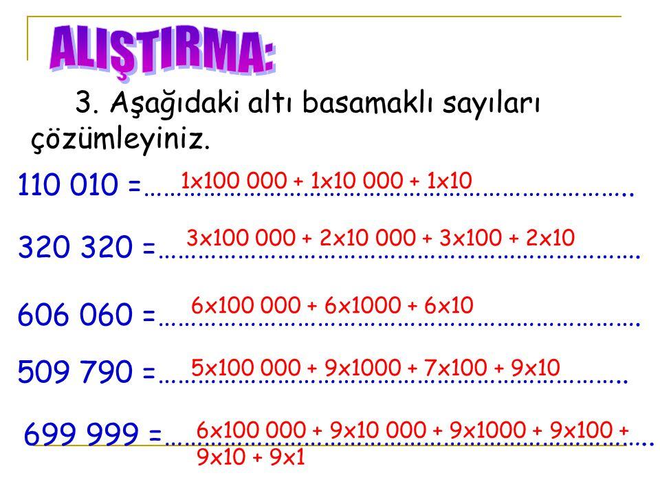 3. Aşağıdaki altı basamaklı sayıları çözümleyiniz. 110 010 =……………………………………………………………….. 320 320 =………………………………………………………………. 606 060 =…………………………………………………