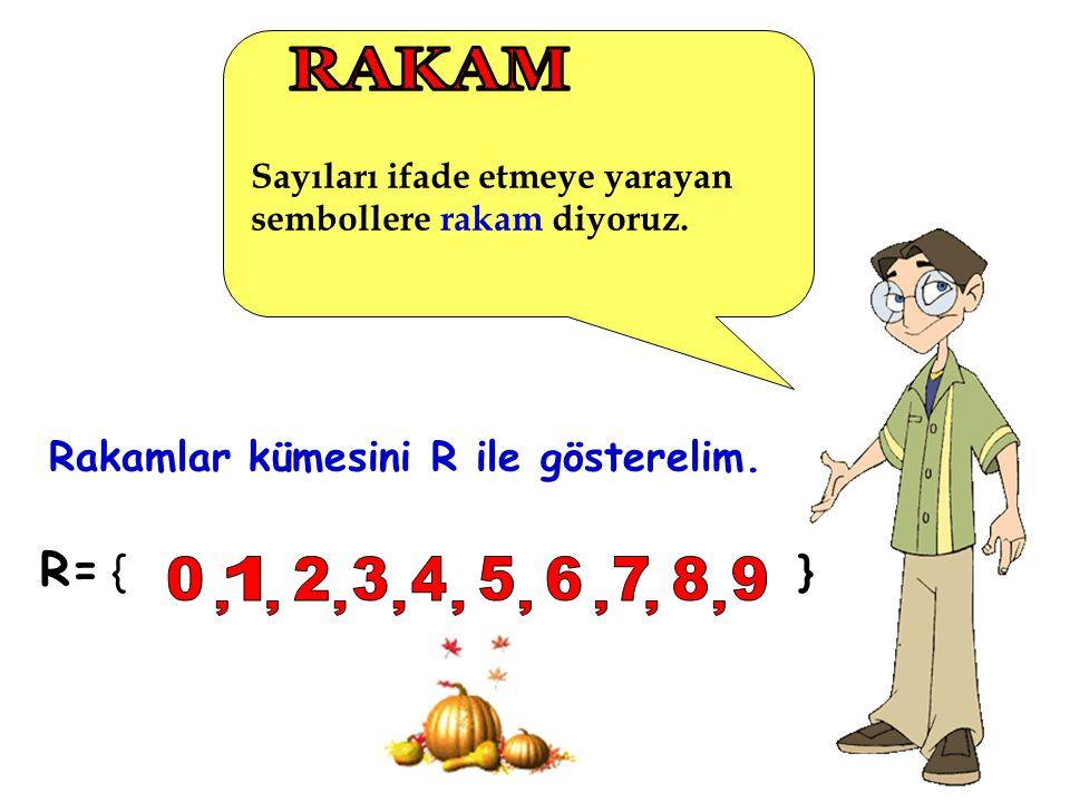 Sayıları ifade etmeye yarayan sembollere rakam diyoruz. R= { } Rakamlar kümesini R ile gösterelim.