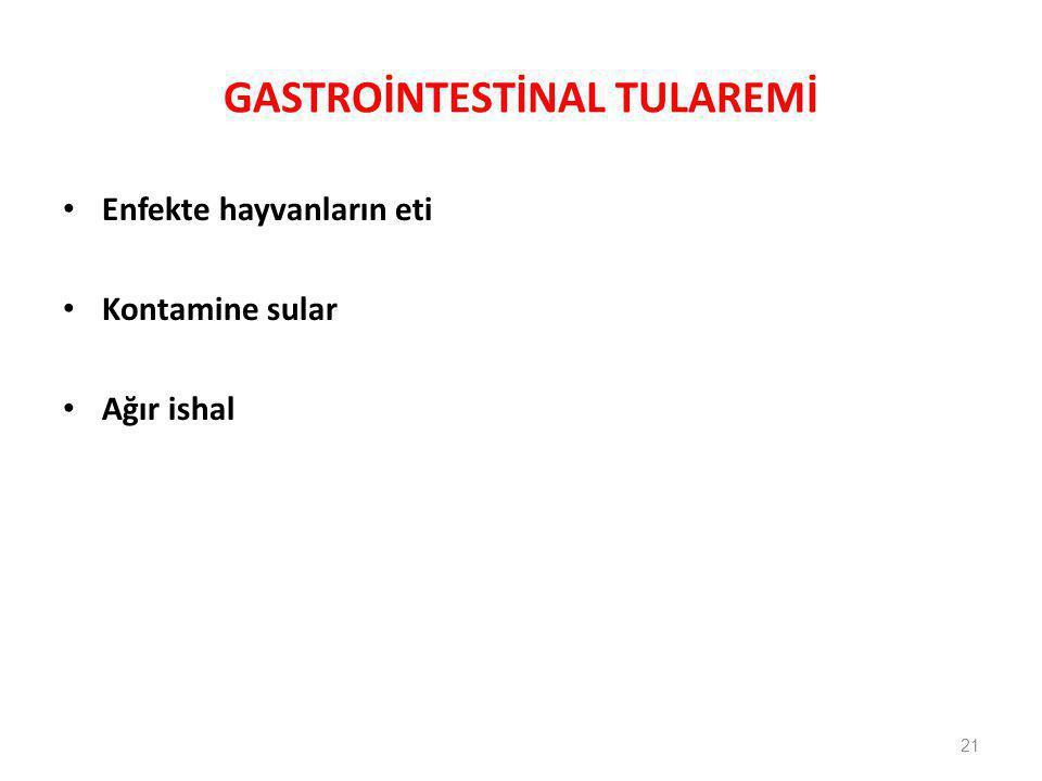 GASTROİNTESTİNAL TULAREMİ Enfekte hayvanların eti Kontamine sular Ağır ishal 21