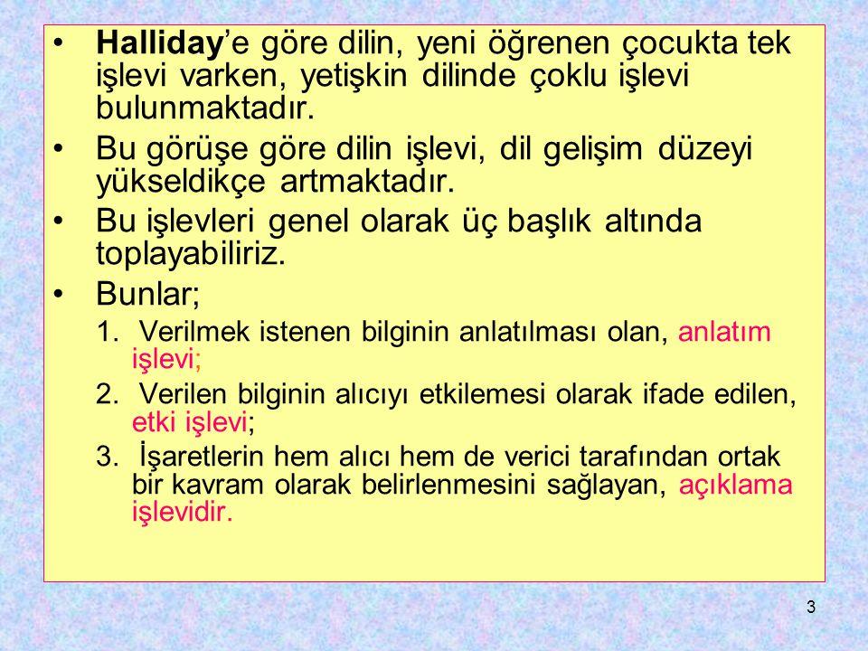 3 Halliday'e göre dilin, yeni öğrenen çocukta tek işlevi varken, yetişkin dilinde çoklu işlevi bulunmaktadır. Bu görüşe göre dilin işlevi, dil gelişim