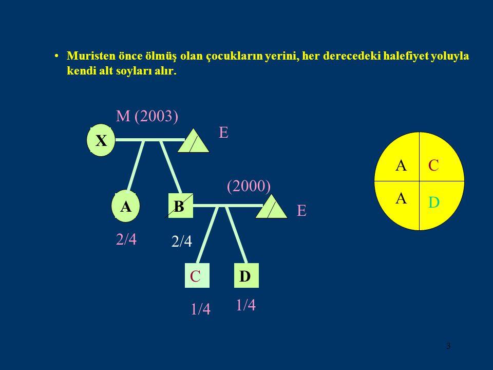 3 Muristen önce ölmüş olan çocukların yerini, her derecedeki halefiyet yoluyla kendi alt soyları alır. C (2000) E D 1/4 A X M (2003) E B 2/4 A AC D C