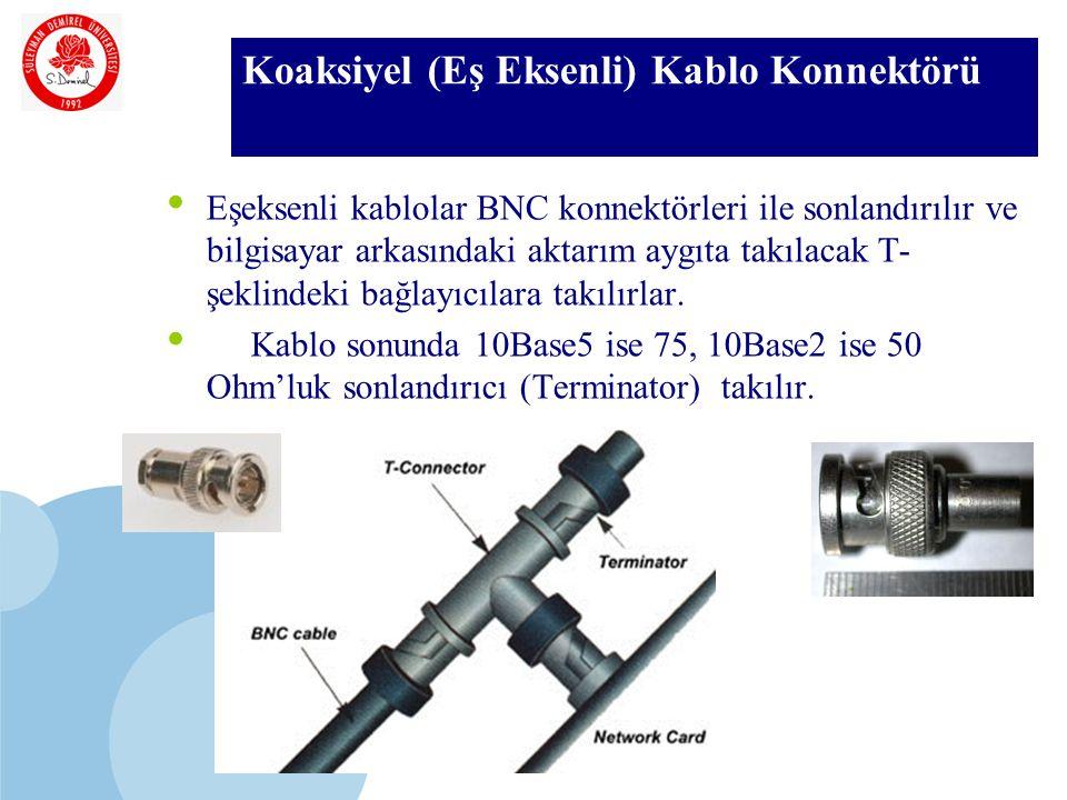 SDÜ KMYO Koaksiyel (Eş Eksenli) Kablo Konnektörü Eşeksenli kablolar BNC konnektörleri ile sonlandırılır ve bilgisayar arkasındaki aktarım aygıta takılacak T- şeklindeki bağlayıcılara takılırlar.