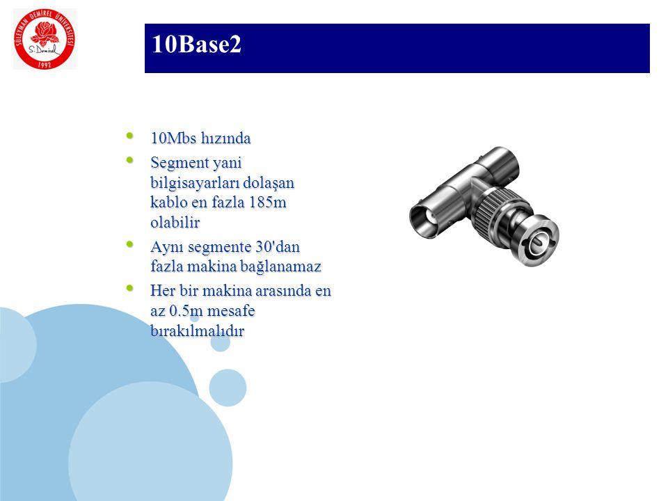 SDÜ KMYO 10Base2 10Mbs hızında 10Mbs hızında Segment yani bilgisayarları dolaşan kablo en fazla 185m olabilir Segment yani bilgisayarları dolaşan kablo en fazla 185m olabilir Aynı segmente 30 dan fazla makina bağlanamaz Aynı segmente 30 dan fazla makina bağlanamaz Her bir makina arasında en az 0.5m mesafe bırakılmalıdır Her bir makina arasında en az 0.5m mesafe bırakılmalıdır