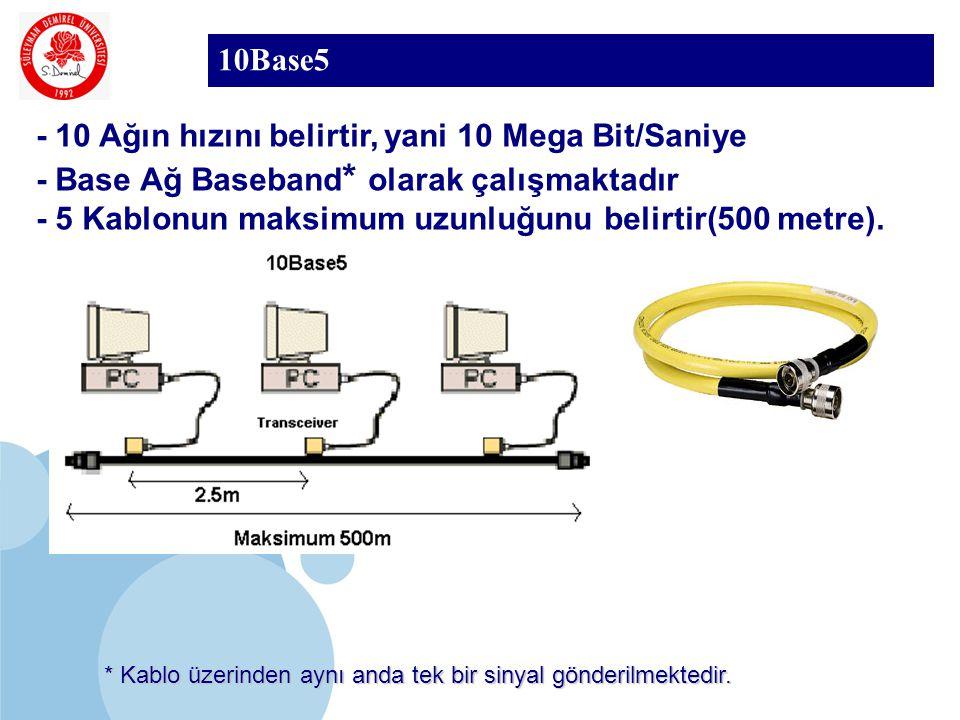 SDÜ KMYO 10Base5 - 10 Ağın hızını belirtir, yani 10 Mega Bit/Saniye - Base Ağ Baseband * olarak çalışmaktadır - 5 Kablonun maksimum uzunluğunu belirti