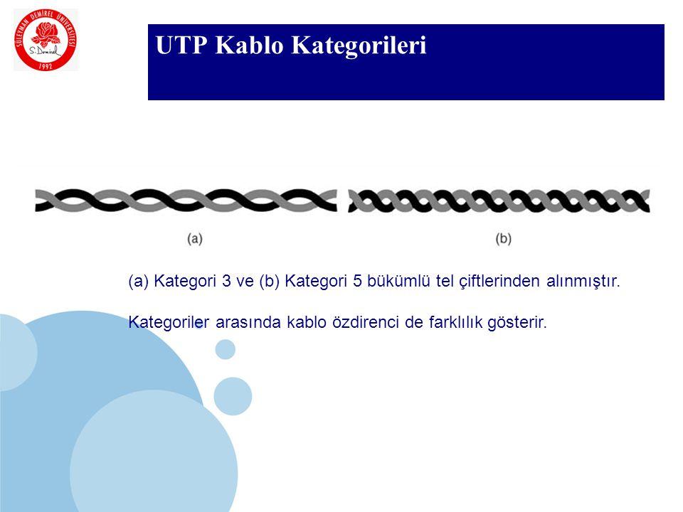 SDÜ KMYO UTP Kablo Kategorileri (a)Kategori 3 ve (b) Kategori 5 bükümlü tel çiftlerinden alınmıştır. Kategoriler arasında kablo özdirenci de farklılık