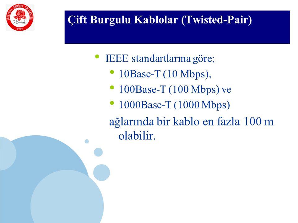 SDÜ KMYO Çift Burgulu Kablolar (Twisted-Pair) IEEE standartlarına göre; 10Base-T (10 Mbps), 100Base-T (100 Mbps) ve 1000Base-T (1000 Mbps) ağlarında bir kablo en fazla 100 m olabilir.