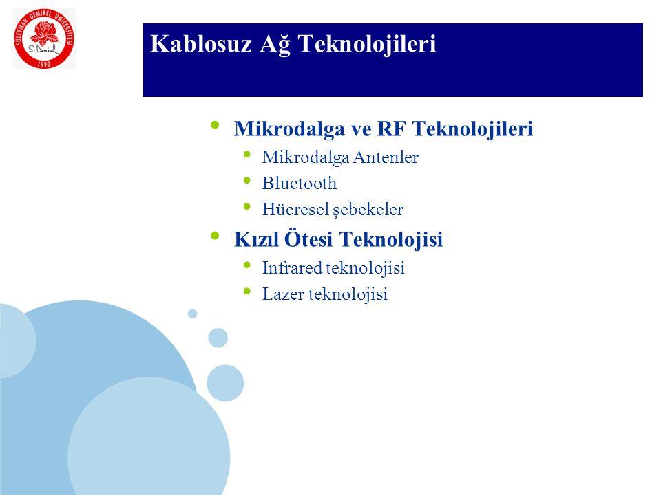 SDÜ KMYO Kablosuz Ağ Teknolojileri Mikrodalga ve RF Teknolojileri Mikrodalga Antenler Bluetooth Hücresel şebekeler Kızıl Ötesi Teknolojisi Infrared teknolojisi Lazer teknolojisi