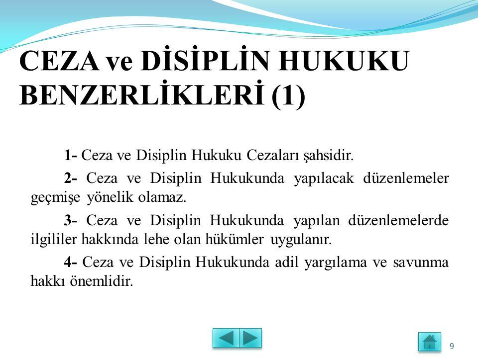 CEZA ve DİSİPLİN HUKUKU BENZERLİKLERİ (1) 1- Ceza ve Disiplin Hukuku Cezaları şahsidir.