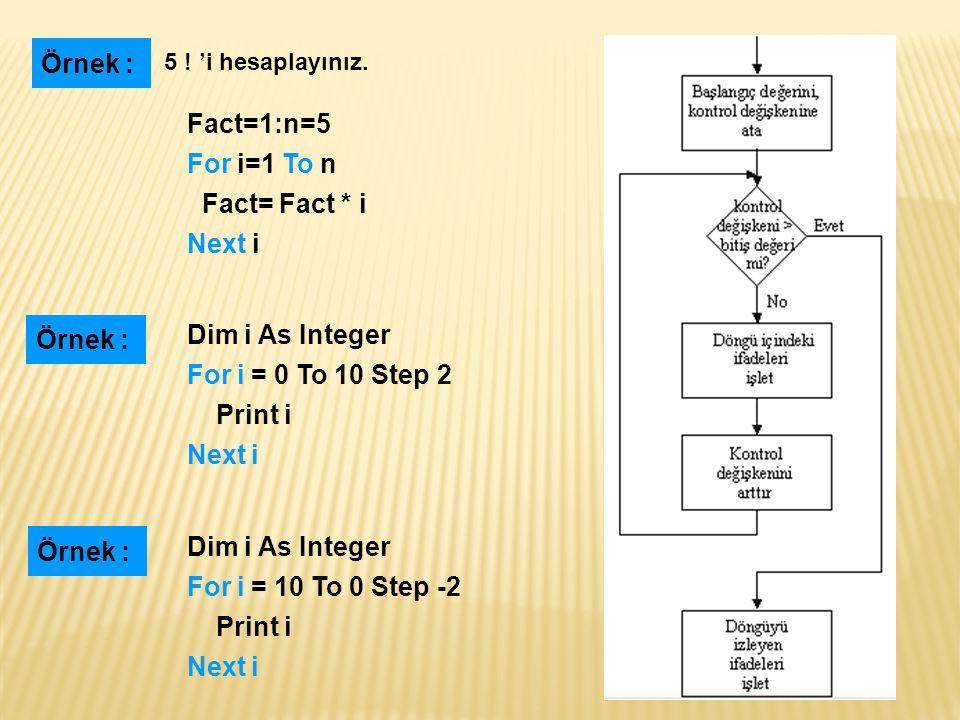 Fact=1: i=1: n=5 Do While i<=n Fact=Fact * i i=i+1 Loop Örnek : 5 .
