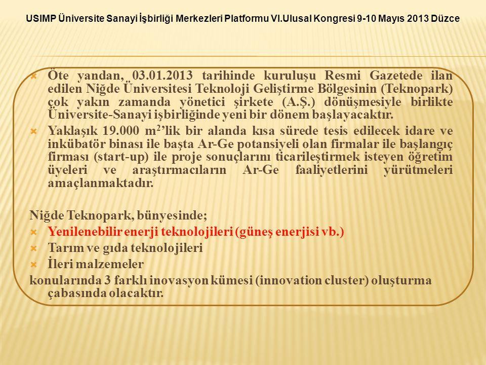  Öte yandan, 03.01.2013 tarihinde kuruluşu Resmi Gazetede ilan edilen Niğde Üniversitesi Teknoloji Geliştirme Bölgesinin (Teknopark) çok yakın zamand