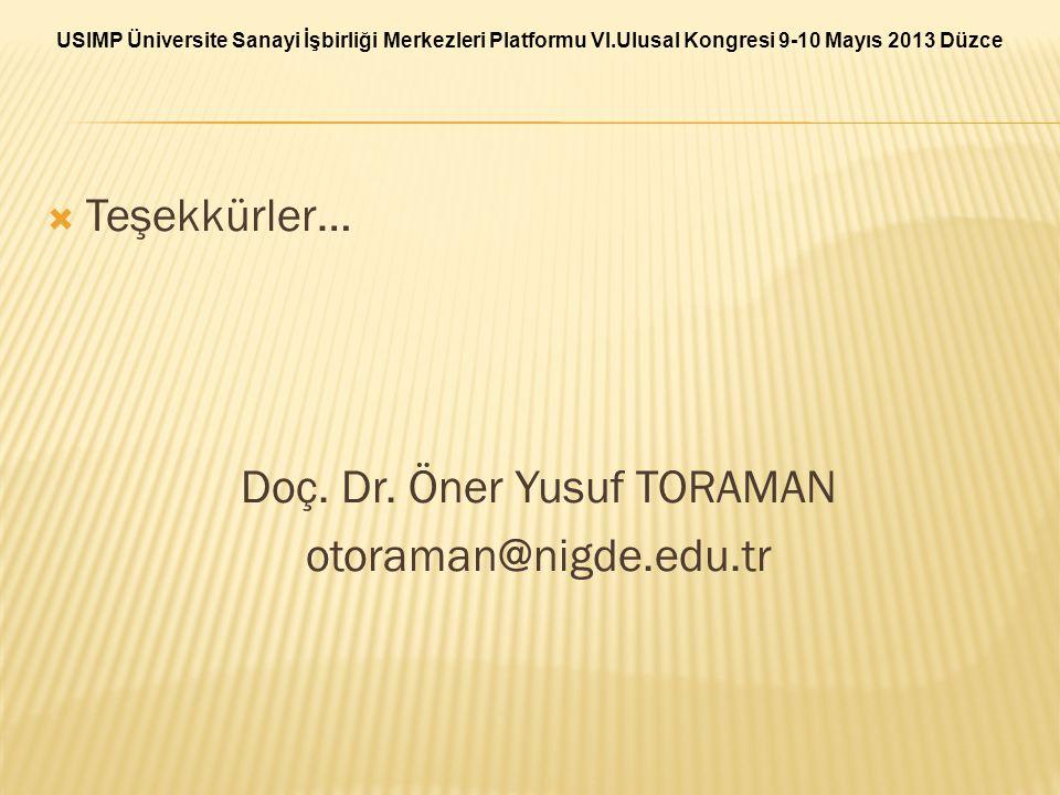  Teşekkürler… Doç. Dr. Öner Yusuf TORAMAN otoraman@nigde.edu.tr USIMP Üniversite Sanayi İşbirliği Merkezleri Platformu VI.Ulusal Kongresi 9-10 Mayıs