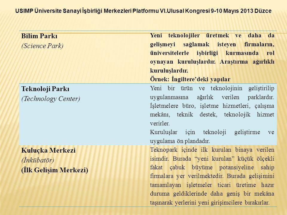 Bilim Parkı (Science Park) Yeni teknolojiler üretmek ve daha da gelişmeyi sağlamak isteyen firmaların, üniversitelerle işbirliği kurmasında rol oynaya