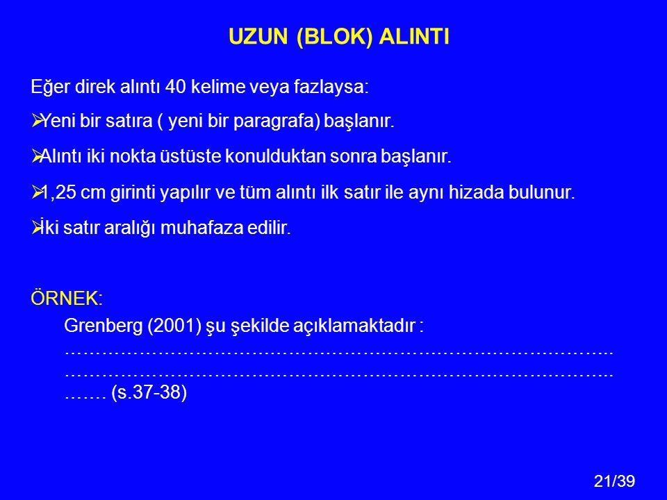 21/39 UZUN (BLOK) ALINTI Eğer direk alıntı 40 kelime veya fazlaysa:  Yeni bir satıra ( yeni bir paragrafa) başlanır.  Alıntı iki nokta üstüste konul