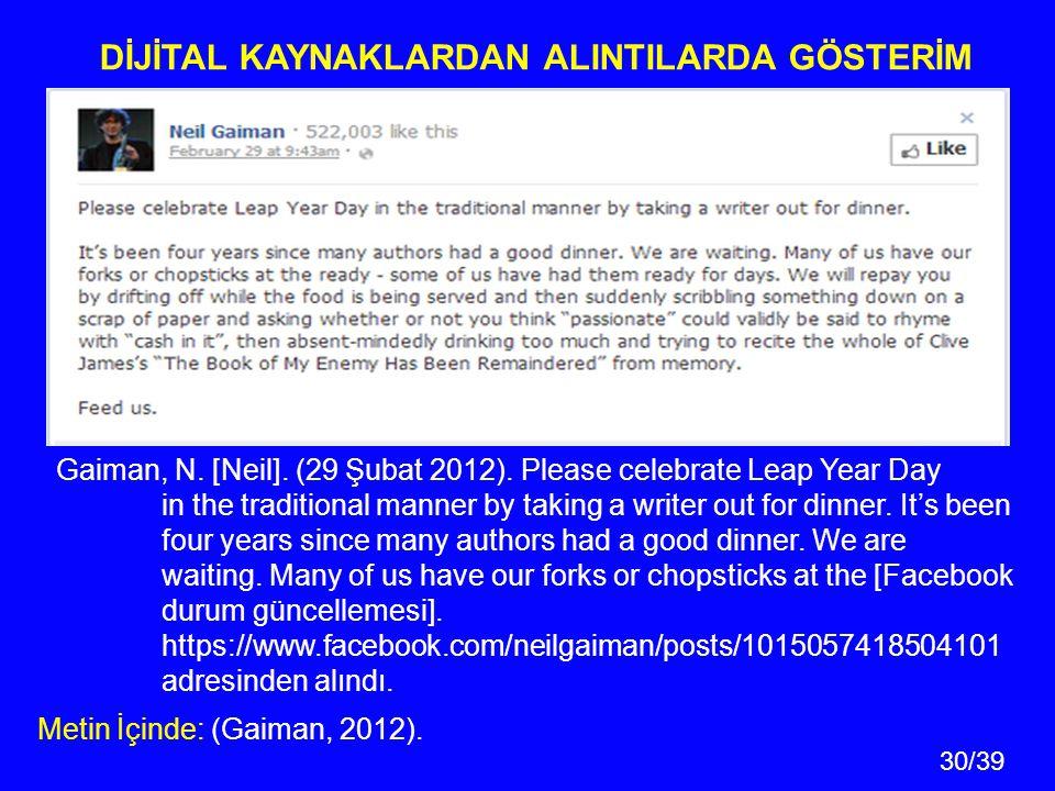 30/39 Gaiman, N.[Neil]. (29 Şubat 2012).