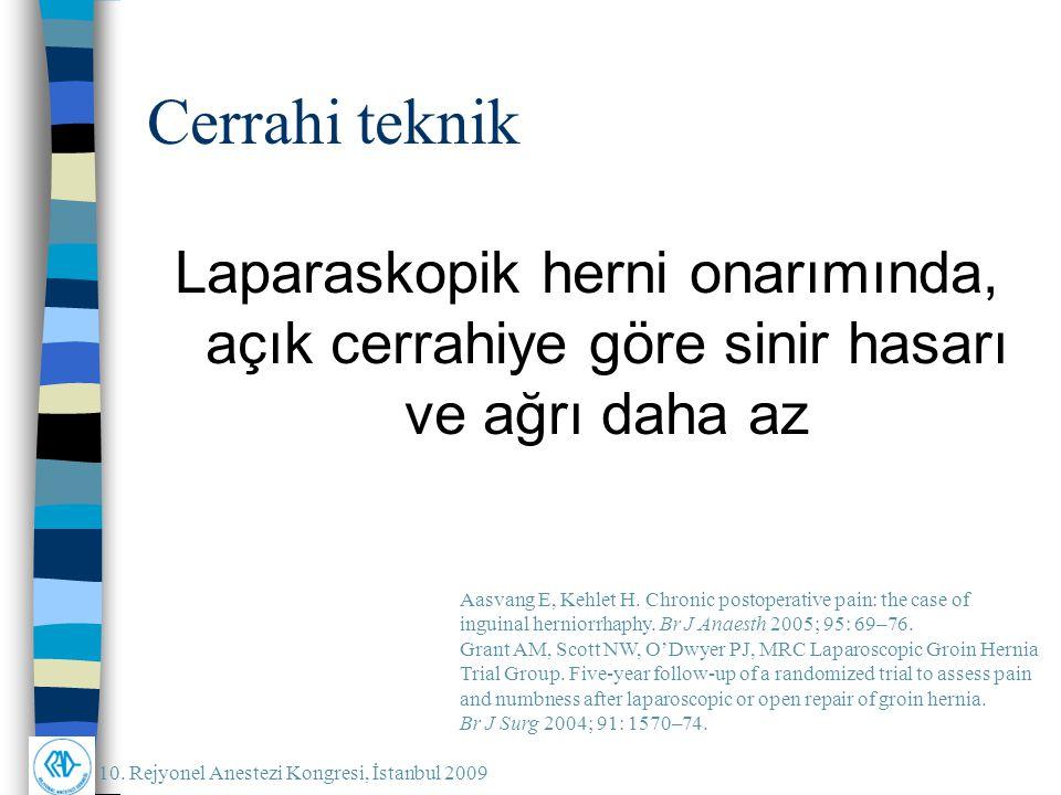 10. Rejyonel Anestezi Kongresi, İstanbul 2009 Cerrahi teknik Laparaskopik herni onarımında, açık cerrahiye göre sinir hasarı ve ağrı daha az Aasvang E