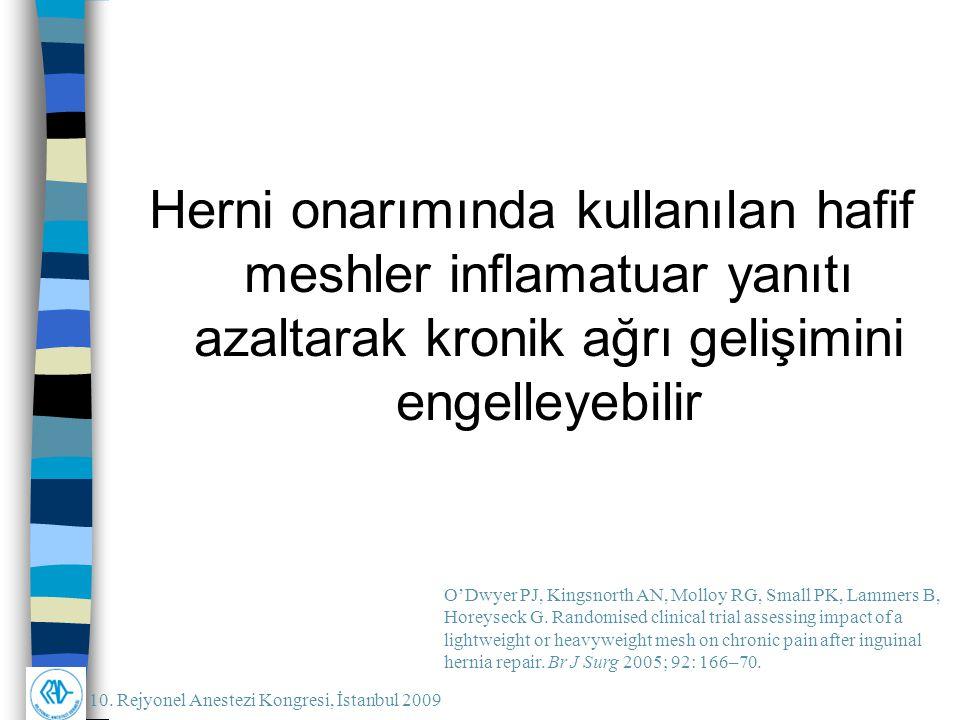 10. Rejyonel Anestezi Kongresi, İstanbul 2009 Herni onarımında kullanılan hafif meshler inflamatuar yanıtı azaltarak kronik ağrı gelişimini engelleyeb