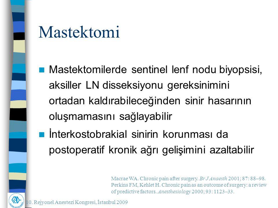 10. Rejyonel Anestezi Kongresi, İstanbul 2009 Mastektomi Mastektomilerde sentinel lenf nodu biyopsisi, aksiller LN disseksiyonu gereksinimini ortadan