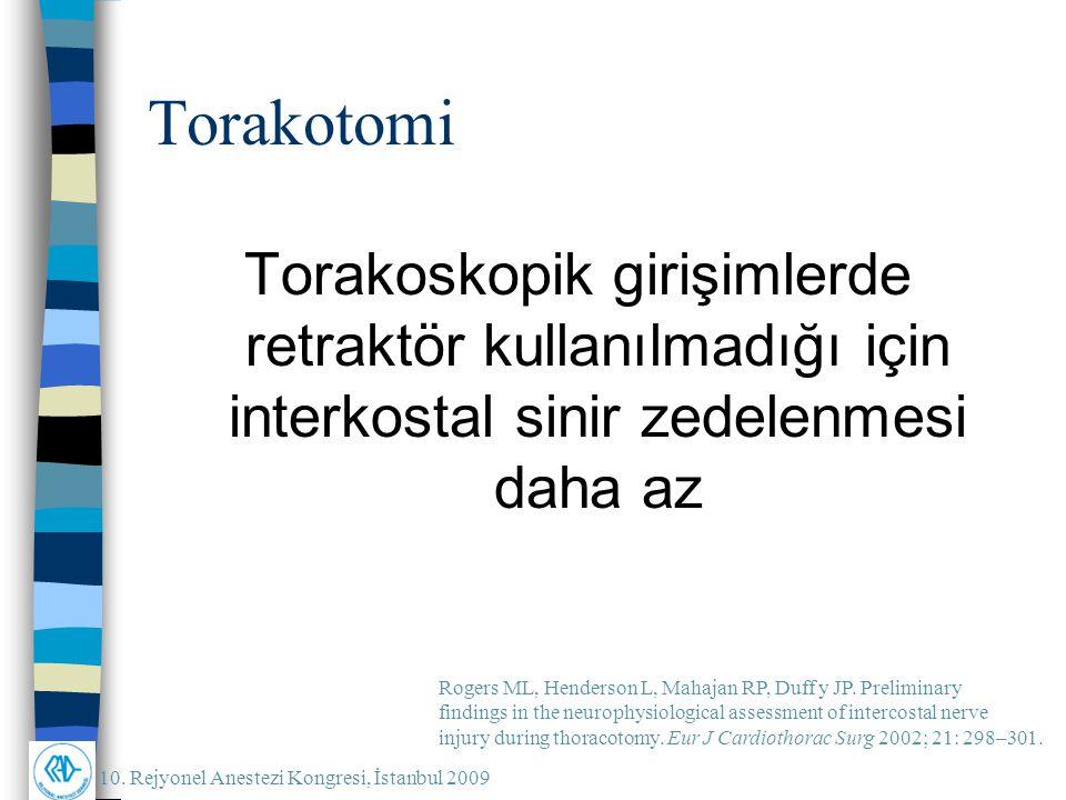 10. Rejyonel Anestezi Kongresi, İstanbul 2009 Torakotomi Torakoskopik girişimlerde retraktör kullanılmadığı için interkostal sinir zedelenmesi daha az