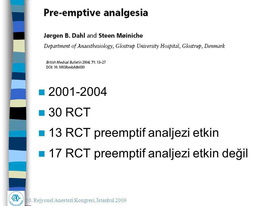 10. Rejyonel Anestezi Kongresi, İstanbul 2009 2001-2004 30 RCT 13 RCT preemptif analjezi etkin 17 RCT preemptif analjezi etkin değil