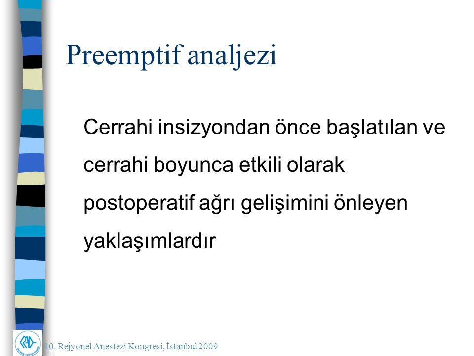 10. Rejyonel Anestezi Kongresi, İstanbul 2009 Preemptif analjezi Cerrahi insizyondan önce başlatılan ve cerrahi boyunca etkili olarak postoperatif ağr