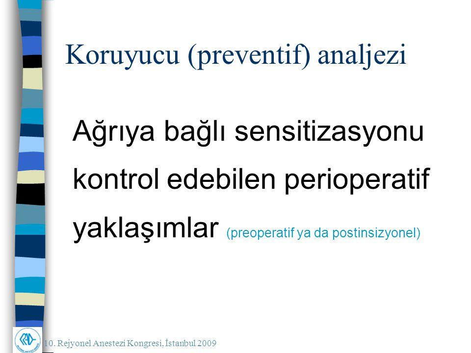 10. Rejyonel Anestezi Kongresi, İstanbul 2009 Koruyucu (preventif) analjezi Ağrıya bağlı sensitizasyonu kontrol edebilen perioperatif yaklaşımlar (pre