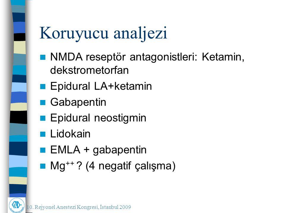 10. Rejyonel Anestezi Kongresi, İstanbul 2009 Koruyucu analjezi NMDA reseptör antagonistleri: Ketamin, dekstrometorfan Epidural LA+ketamin Gabapentin