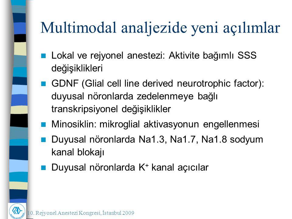 10. Rejyonel Anestezi Kongresi, İstanbul 2009 Multimodal analjezide yeni açılımlar Lokal ve rejyonel anestezi: Aktivite bağımlı SSS değişiklikleri GDN