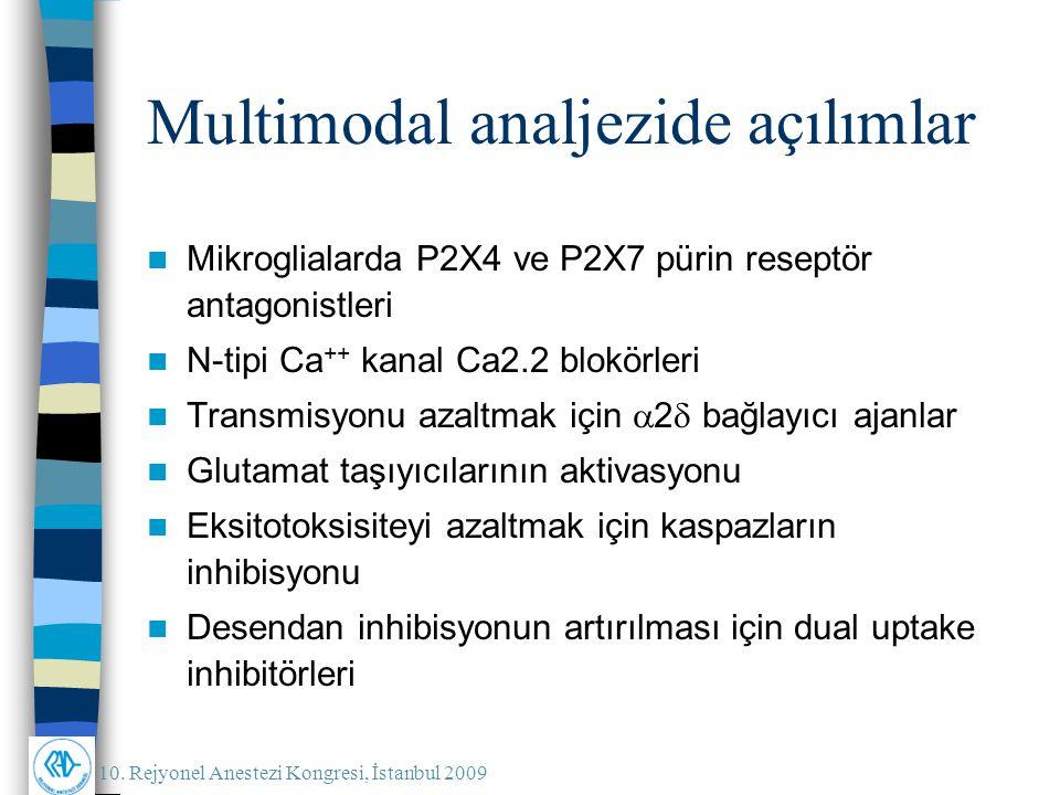 10. Rejyonel Anestezi Kongresi, İstanbul 2009 Mikroglialarda P2X4 ve P2X7 pürin reseptör antagonistleri N-tipi Ca ++ kanal Ca2.2 blokörleri Transmisyo