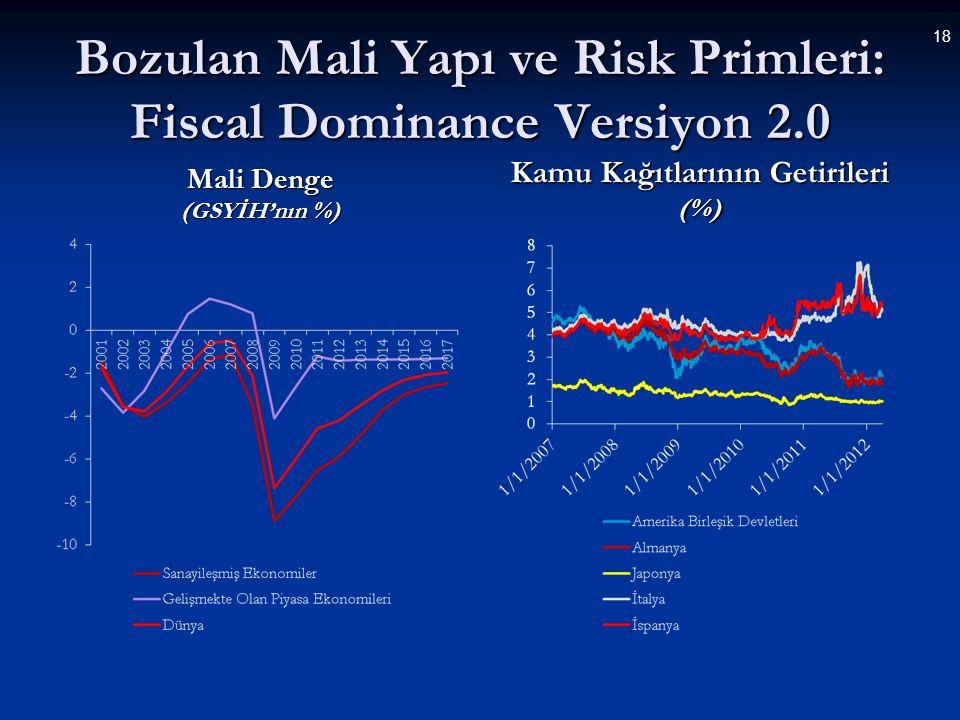 Bozulan Mali Yapı ve Risk Primleri: Fiscal Dominance Versiyon 2.0 Mali Denge (GSYİH'nın %) Kamu Kağıtlarının Getirileri (%) 18