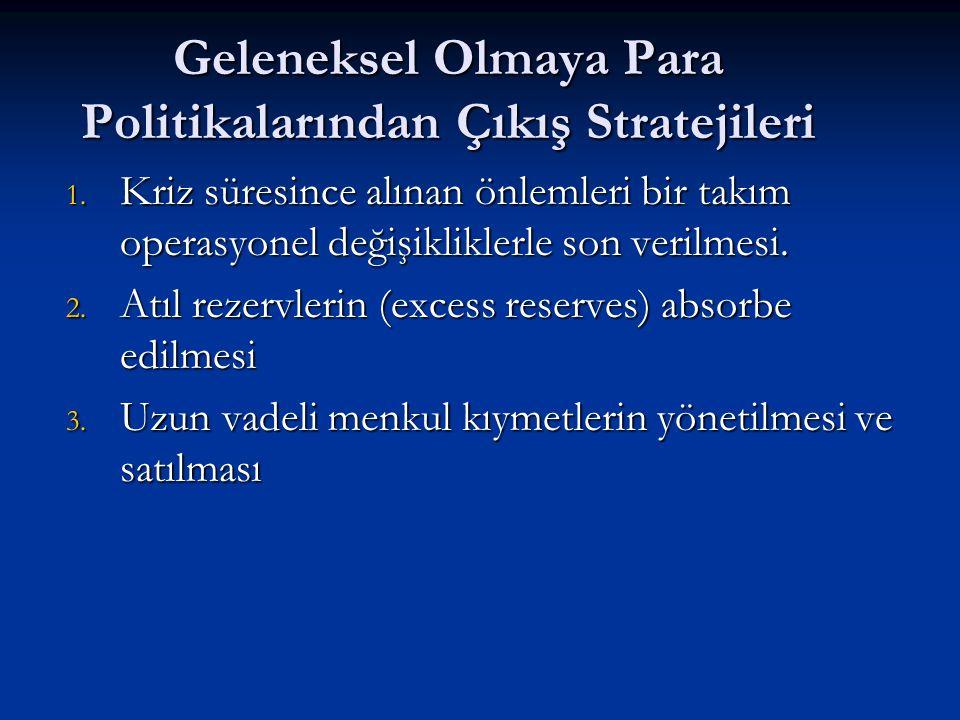 Geleneksel Olmaya Para Politikalarından Çıkış Stratejileri 1. Kriz süresince alınan önlemleri bir takım operasyonel değişikliklerle son verilmesi. 2.