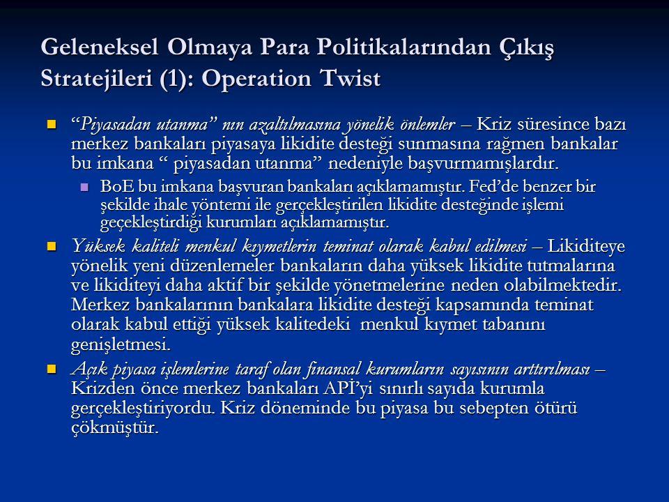 """Geleneksel Olmaya Para Politikalarından Çıkış Stratejileri (1): Operation Twist """"Piyasadan utanma"""" nın azaltılmasına yönelik önlemler – Kriz süresince"""