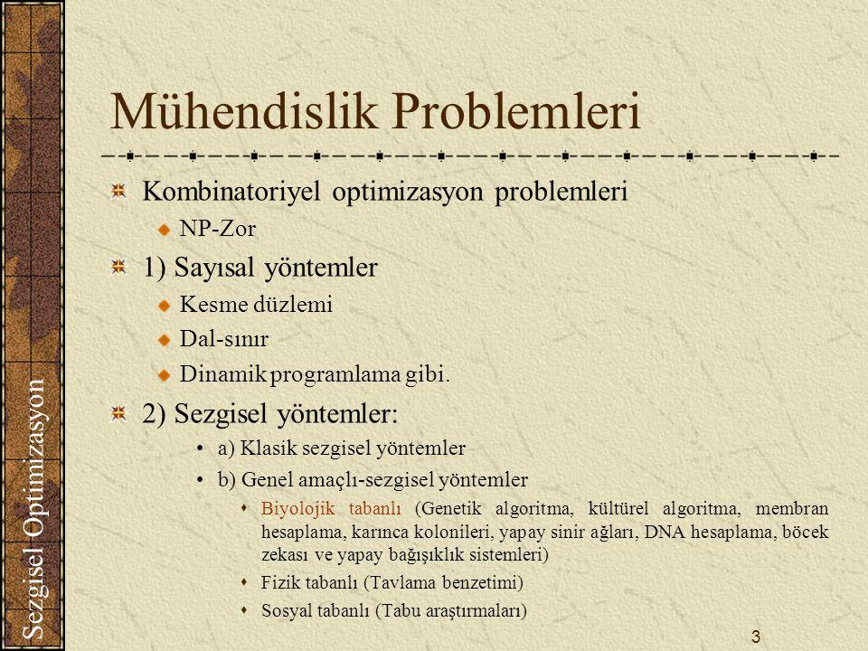 Sezgisel Optimizasyon 3 Mühendislik Problemleri Kombinatoriyel optimizasyon problemleri NP-Zor 1) Sayısal yöntemler Kesme düzlemi Dal-sınır Dinamik programlama gibi.