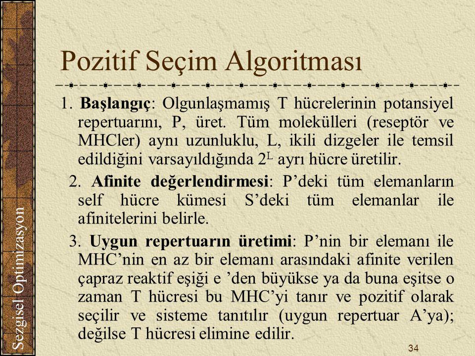 Sezgisel Optimizasyon 34 Pozitif Seçim Algoritması 1.