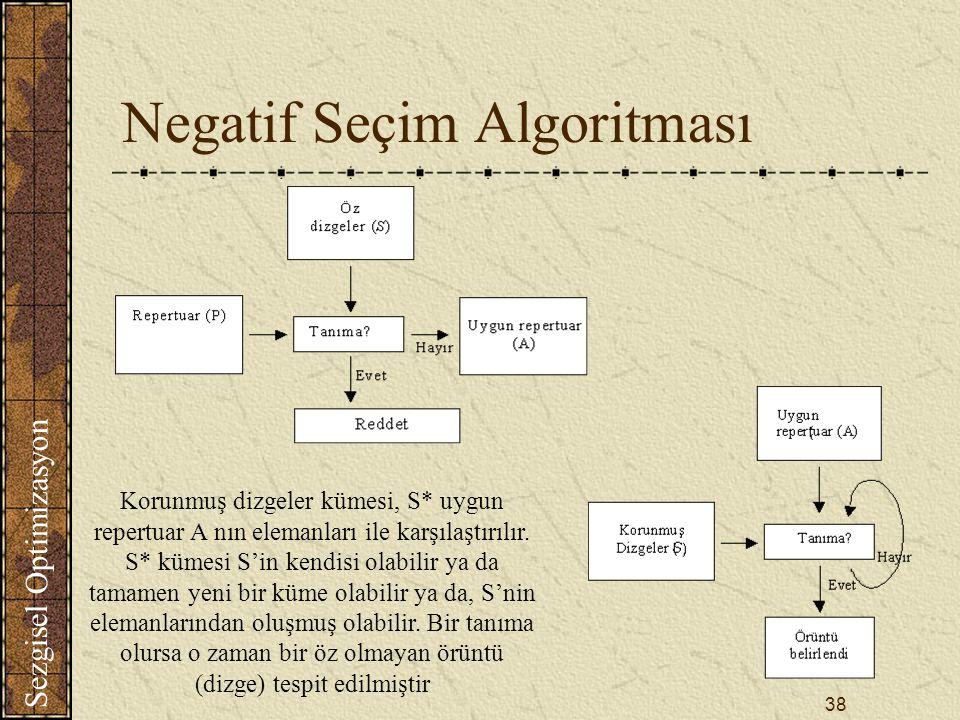 Sezgisel Optimizasyon 38 Negatif Seçim Algoritması Korunmuş dizgeler kümesi, S* uygun repertuar A nın elemanları ile karşılaştırılır.