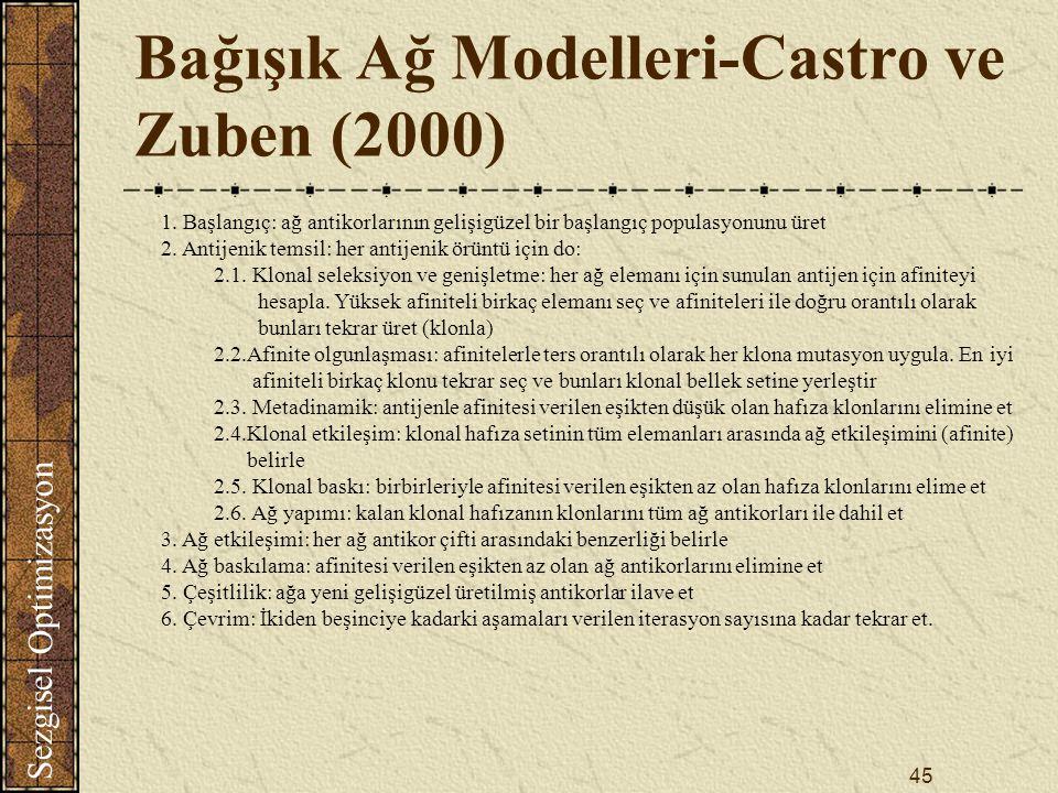 Sezgisel Optimizasyon 45 Bağışık Ağ Modelleri-Castro ve Zuben (2000) 1.